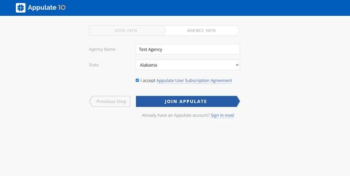 agency info step