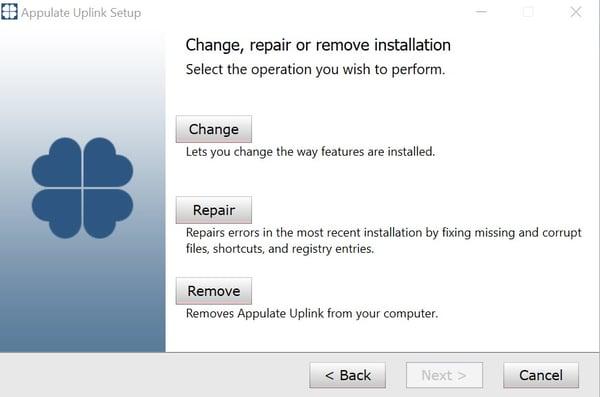 change, repair or uninstall 2