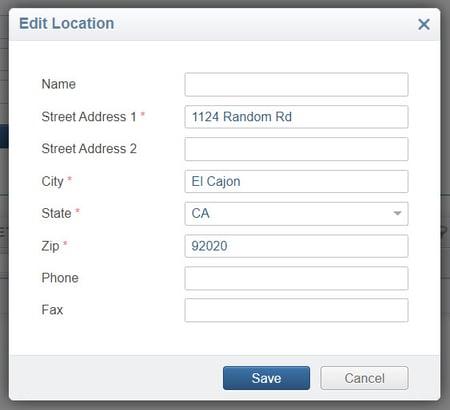 Edit Location dialog