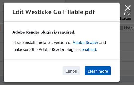 """The """"Adobe Reader plugin is required"""" dialog"""