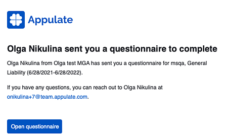 Questionnaire email
