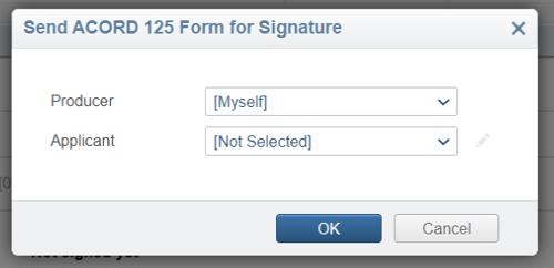send form for signature dialog
