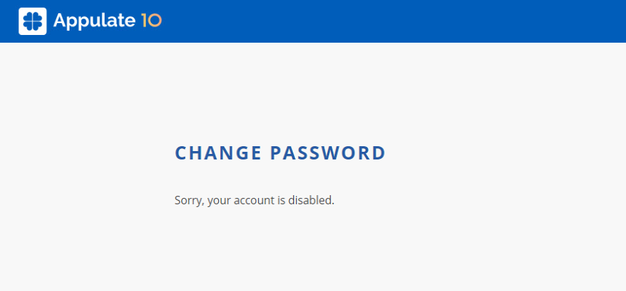 Sorry, your account is disabled error