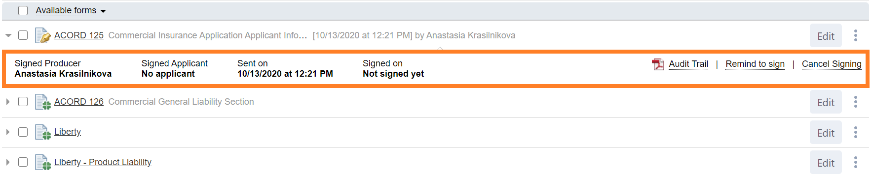 signed forms interface
