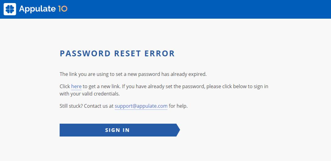 Link expired error