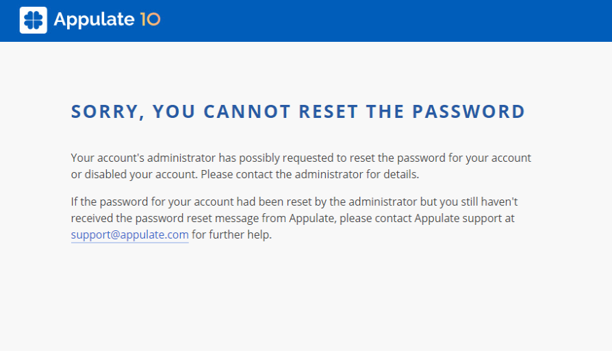 Sorry, you cannot reset the password error