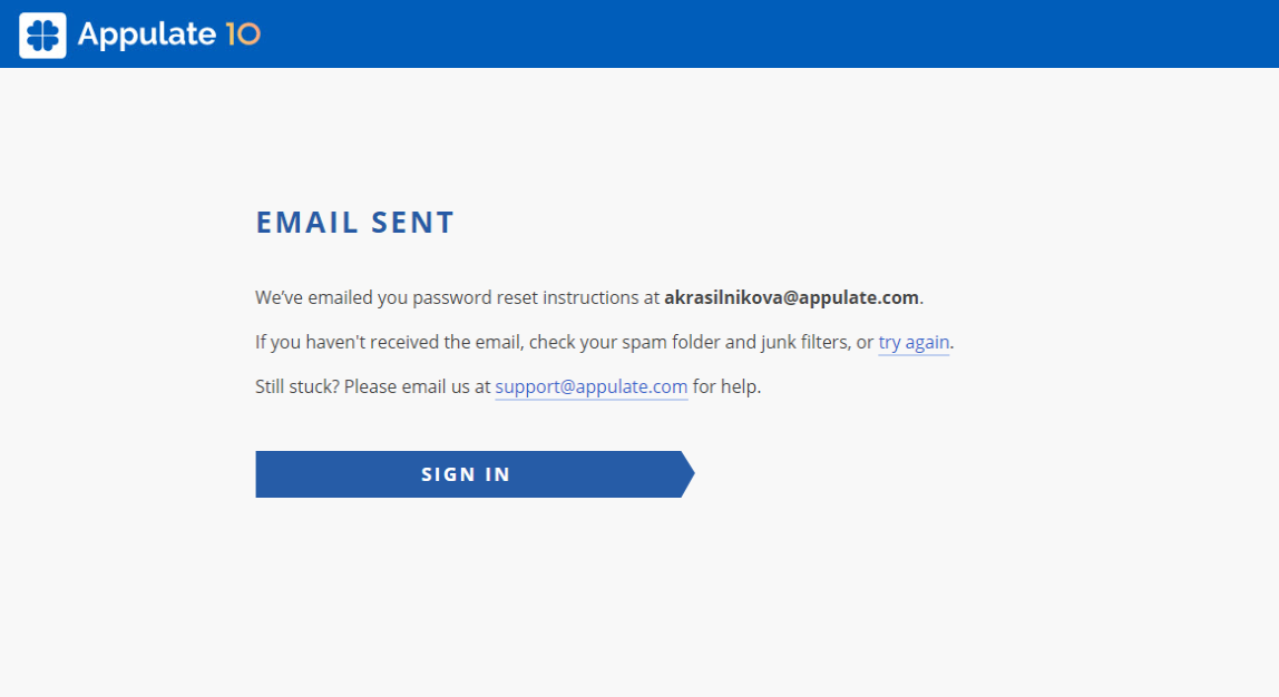 Email sent page