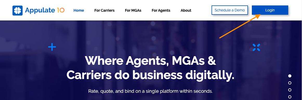 Login button on the Appulate website