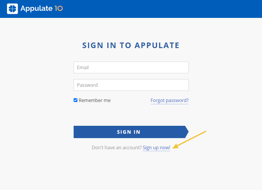 Sign in to Appulate page